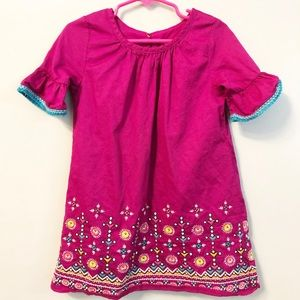 4T Toddler Girl Pink Fuchsia Embroidered Dress